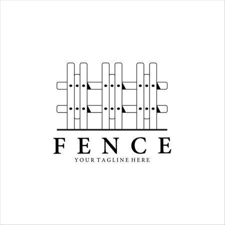 fence line art minimalist vector logo illustration design