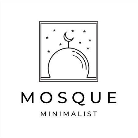 mosque line art minimalist vector logo illustration design 向量圖像