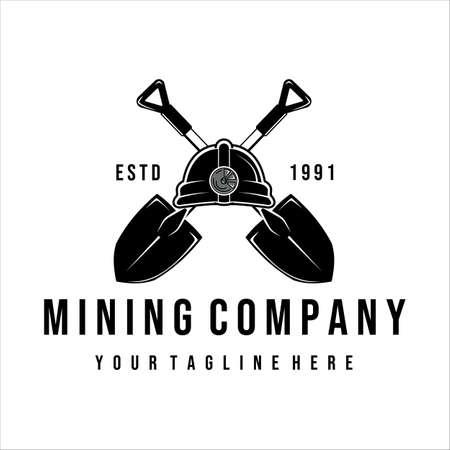 shovel or trowel vector vintage illustration design. helmet shovel or trowel concept for mining company . mining equipment or tools vintage vector illustration template design