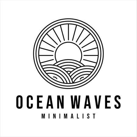 ocean waves line art logo vector illustration template design. sea wave with sun badge icon creative design
