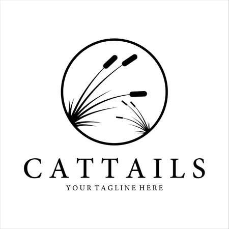 cattails or reed logo vintage vector illustration design