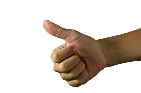 Mans hand showing close up of the thumbs up, isolated on white  photo
