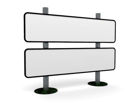 letrero: Poste indicador en blanco  Foto de archivo