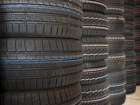 winter tires: Brand new Winter tires stacked up