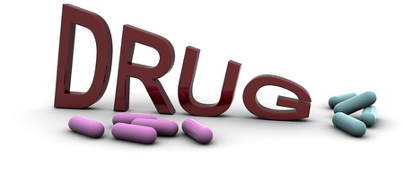 3D Rendered Drugs word photo