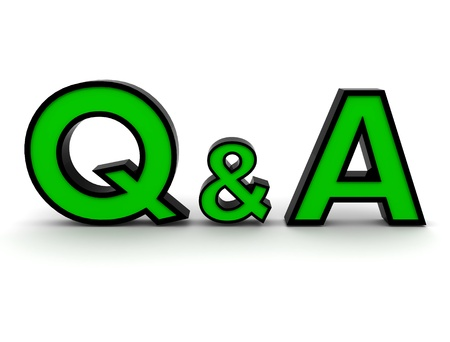 Question and Answer  3D Rendered word Stock Photo