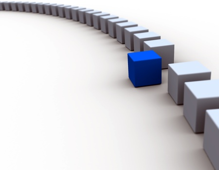3D cube / Standing Out From The Crowd Concept