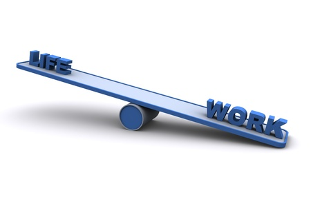 work life balance: 3D Seesaw  balance concept