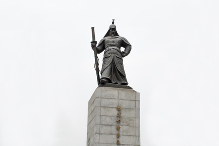 Statue of Yi Sun-sin in Seoul, he was a Korean naval commander, famed for his victories against the Japanese navy during the Imjin war in the Joseon Dynasty Editorial