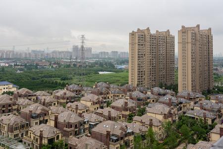 City View -Villas and skyscraper in Wuxi City, Jiangsu Province, China. Editorial