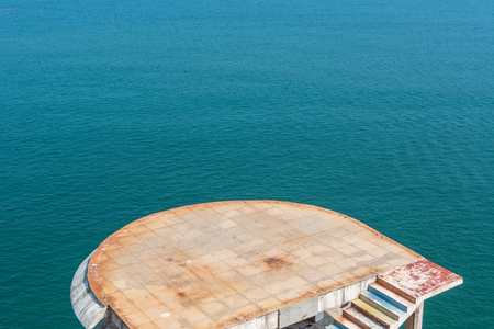 viewing platform beside a blue cobalt sea at Yangjiang Bay, Guangdong, China