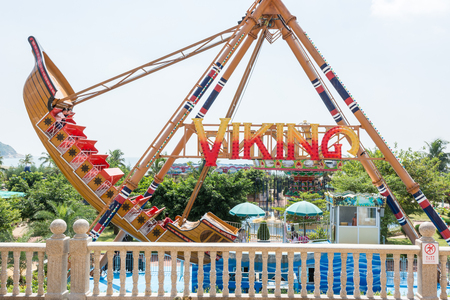 Pirate ship ride with viking theme in an amusement park