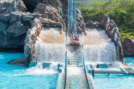 Extreme water sport flume ride in a theme park Editorial