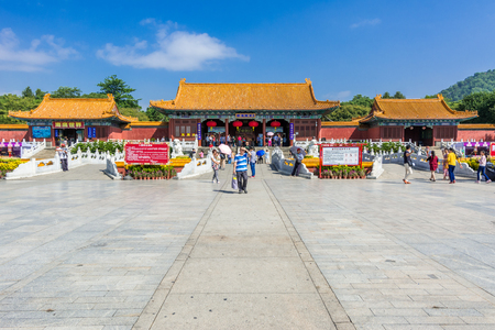 Zhuhai, Guangdong, China- October 16, 2016: Visitors at New Yuanming Palace against blue sky of Zhuhai City of Guangdong, a rebuilt of famous imperial park