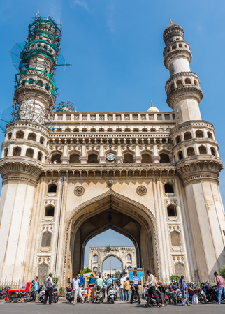 Hyderabad City, Andhra Pradesh, India- November 18, 2016 - People walking around the Charminar