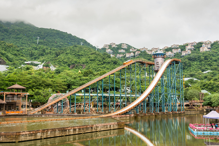 shenzhen: Shenzhen, Guangdong, China- September 16, 2016 - Rollar coaster ride in the Overseas Chinese Town East theme park