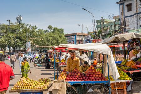 Hyderabad City, Andhra Pradesh, India- November 18, 2016: Fruit stalls at the street of Hyderabad City, India Editorial