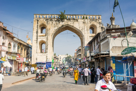 Hyderabad City, Andhra Pradesh, India- November 18, 2016: Street of Hyderabad City with background of ancient Indian Mugul style building