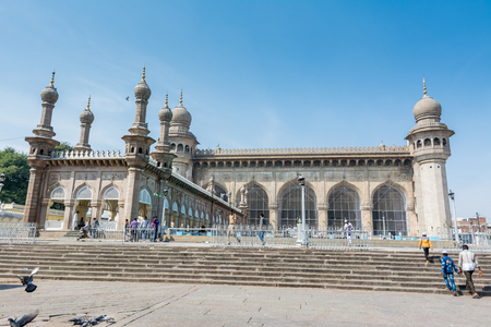 Hyderabad City, Andhra Pradesh, India - November 18, 2016: Mecca Masjid mosque against blue sky, a famous monument in Hyderabad