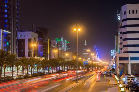 Night view of street in the downtown of Riyadh, Kingdom of Saudi Arabia