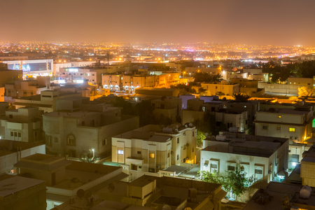 Aerial night view with neon light of Riyadh with buildings Stock Photo