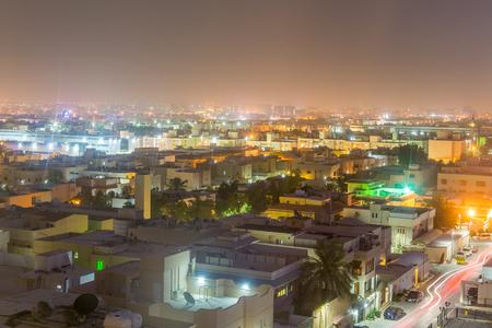 Riyadh, Saudi Arabia, January 12th, 2017, Aerial night view with neon light of Riyadh with buildings and rooftops