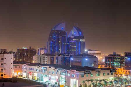 Riyadh, Saudi Arabia, January 12th, 2017, Aerial night view with neon light of Riyadh with Twin building of Alinma Bank