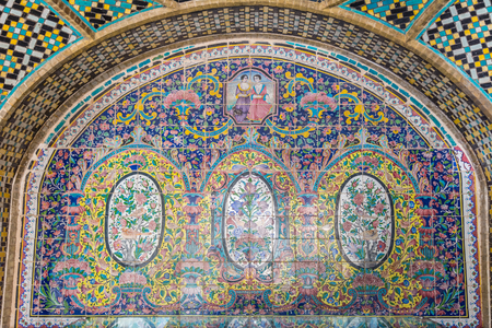Tehran City, Iran- November 9th, 2016: Editorial: Interior decoration with colorful tiles of historic buildings at Golestan palace complex in Tehran, Iran Editorial