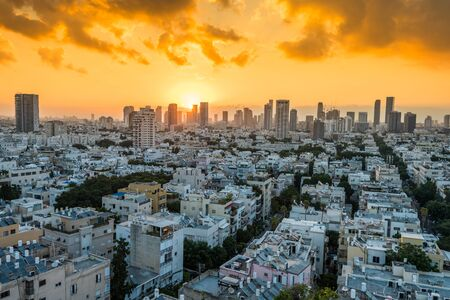 Sunrising of aerial view of Tel Aviv City with modern skylines in the morning in Israel.