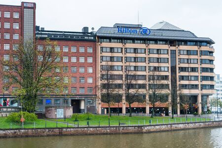Modern Hilton hotels and skylines in harbor of Helsinki, Findland in a rainy day.