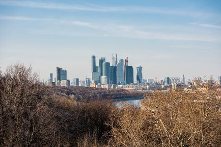 View of downtown of Moscow with modern skylines, and bank of Moskva River , view from the at the Sparrow Hills, formerly called Lenin Hills in Moscow, Russia.