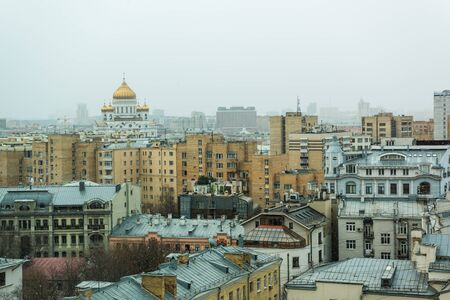Aerial view of Moscow with the building of Cathedral of Christ the Saviour in a snowy day in April  in Moscow, Russia