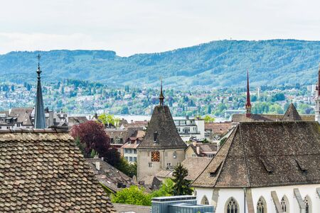 Panorama of city view of old downtown of Zurich city, with beautiful house at the bank of Limmat River of Switzerland, view from ZTH campus.