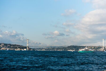Beautiful view of Bosphorus bridge cross the strait, View from Uskudar, Istanbul, Turkey, on the Anatolian shore of the Bosphorus.