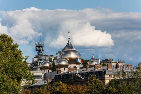 Russian Holy Trinity orthodox cathedral with its silver cupolas in the downtown near the Seine River of Paris, France
