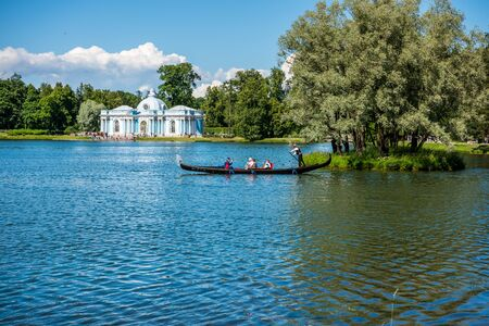 The Grotto pavilion, with a fanciful high roof, located on the northern side of the Great Pond Russia