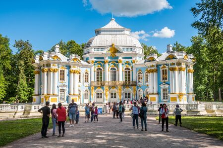A lot of tourist at the Catherine Palace , a Rococo palace, the summer residence of the Russian tsars. St. Petersburg, Russia