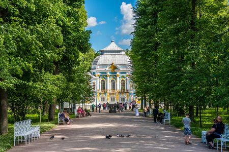 Lots of tourists in the Catherine Palace, a Rococo palace, Russia