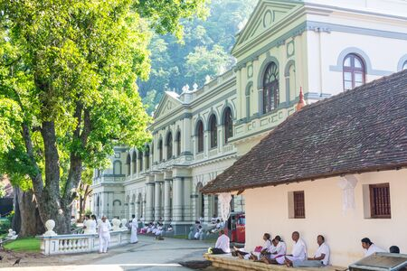 Buildings inside of the complex of Sri Dalada Maligawa or the Temple of the Sacred Tooth Relic, a Buddhist temple in Kandy, Sri Lanka. which houses the relic of the tooth of the Buddha.