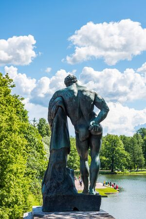 A statue in The Catherine Palace, a Rococo palace located in the town of Tsarskoye Selo, 30 km south of St. Petersburg, Russia. It was the summer residence of the Russian tsars.