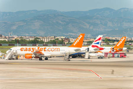 Aircrafts of the EasyJet stopped at the apron of Naples international airport Capodichino, Italy Editorial
