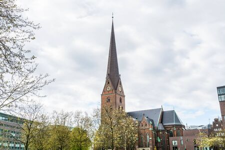 Clock tower of St. Peter's Church in Hamburg, a Protestant cathedral since the Reformation and its congregation forms part of the Evangelical Lutheran Church in Northern Germany