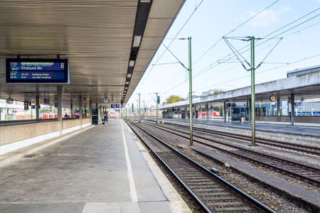 Rail roads and platform of Central Railway Station in Hannover Germany.