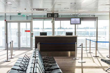 Boarding gate in the airport of Larnaca (Larnaka) fort of Cyprus