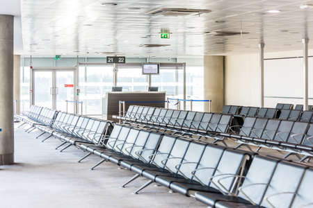 Departure lounge in the airport of Larnaca (Larnaka) fort of Cyprus Редакционное