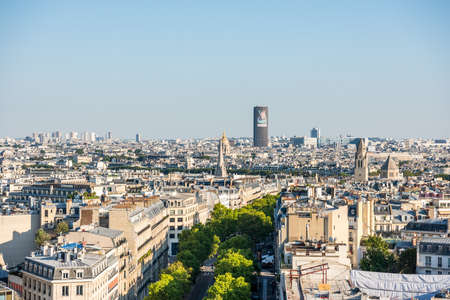 Aerial view of the old town of Paris, from the top of the Arc de Triomphe at the Champs-Elysees Avenue in Paris, France Redactioneel