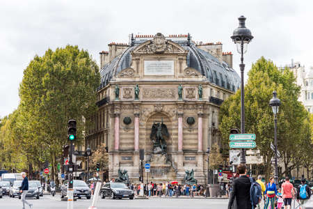 Fontaine Saint-Michel,  by the architect Gabriel Davioud, a monumental fountain located in Place Saint-Michel in the 6th arrondissement in Paris, France.