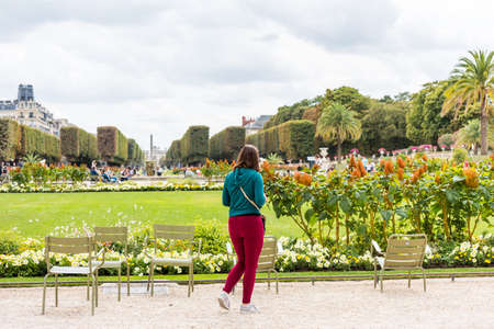 Luxembourg Garden in Summer in downtown of Paris, France.