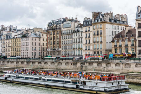 Beutiful historic buildings at the bank of Seine River, Paris, France.