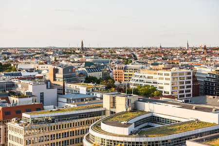 Cityscape of downtown of Berlin with modern skylines and church towers under sunset. Aerial view from Berlin Cathedral. Redactioneel